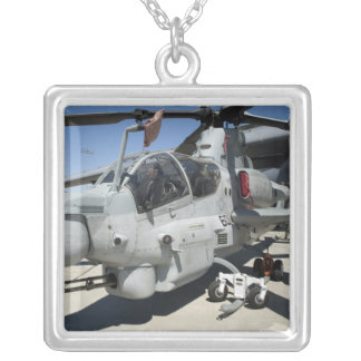 AH-1Z Super Cobra attack helicopter Silver Plated Necklace