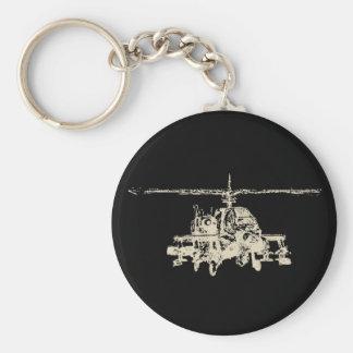 AH-64 Apache Basic Round Button Key Ring