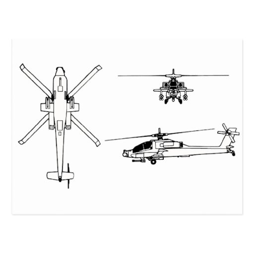 AH-64 blueprint Postcard