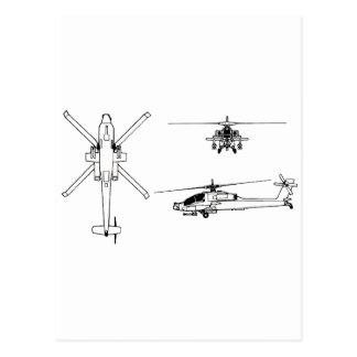 AH-64 blueprint Post Card