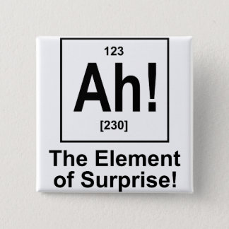Ah! The Element of Surprise. 15 Cm Square Badge