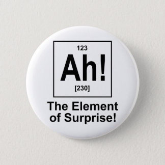 Ah! The Element of Surprise. 6 Cm Round Badge