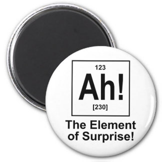 Ah! The Element of Surprise. 6 Cm Round Magnet