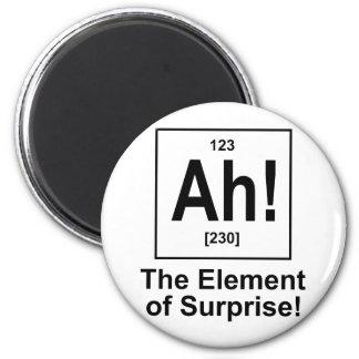Ah! The Element of Surprise. 6 Cm Round Magnet