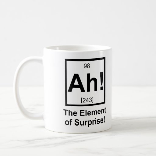 Ah the Element of Surprise Periodic Element Symbol Coffee Mugs