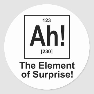 Ah! The Element of Surprise. Round Sticker