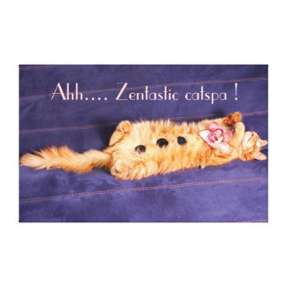 Ahh.. zentastic catspa, cat getting spa treatment gallery wrap canvas