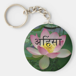 ahimsa vegan basic round button key ring