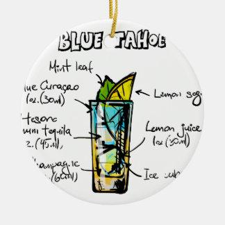 ahoe Blue Cocktail Recipe Round Ceramic Decoration