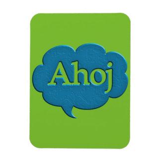 Ahoj hello languages speech bubble greetings expre rectangular photo magnet