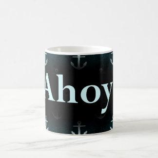 Ahoy Anchor Pattern Design Dark Blue Mugs