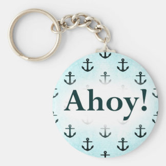 Ahoy! Anchor Pattern Design Light Blue Basic Round Button Key Ring