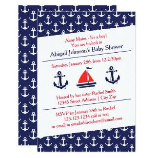 Ahoy Anchors Baby Shower - 3x5 Invitation