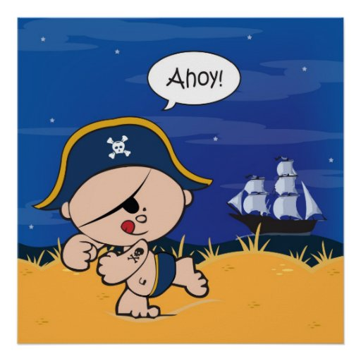 Ahoy Baby! Pirate Poster Print