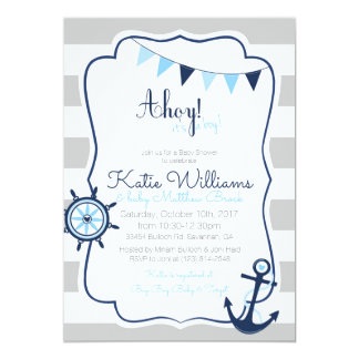 Ahoy Boy Nautical Baby Shower Card Invitation