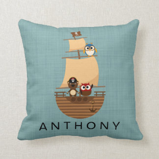 Ahoy Cute Animal Pirate Ship Nursery Decor Cushion