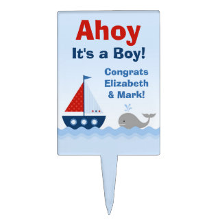 Ahoy It s a Boy Baby Shower Cake Topper