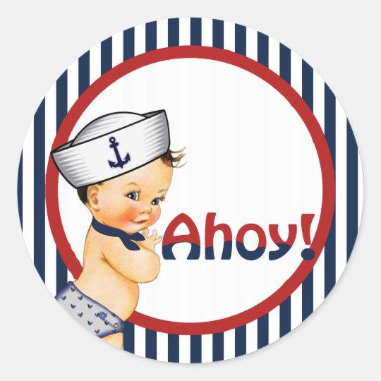 Ahoy It's a Boy Baby Shower Sticker