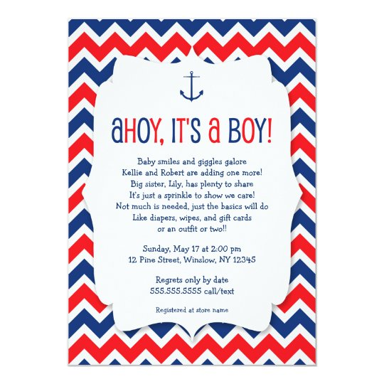 Ahoy it's a boy baby sprinkle invite /