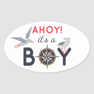 Ahoy! It's A Boy Nautical Baby Shower Boat Party Oval Sticker