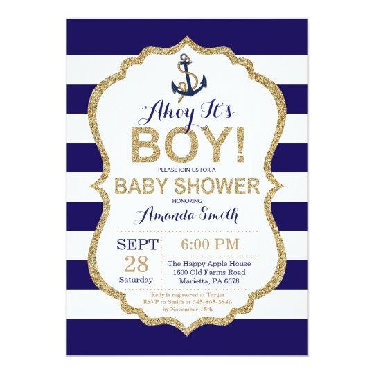 5645bebf07362 Ahoy it's a Boy! Nautical Baby Shower Invitation   Zazzle.co.uk