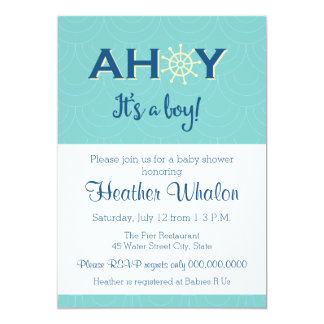 Ahoy it's a boy nautical baby shower invitation