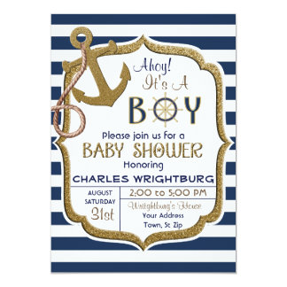 Ahoy It's A Boy Nautical Theme Baby Invitation