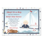 Ahoy Its a Boy Sailboat Baby Shower Invitation