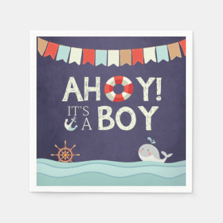 Ahoy It's A Boy Shower Napkins Ocean Nautical Blue Paper Napkin