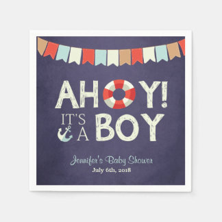 Ahoy It's A Boy Shower Napkins Ocean Nautical Blue Paper Serviettes