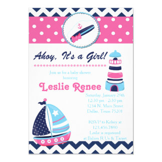 Ahoy, It's a Gir Lighthouse Baby Shower Invitation