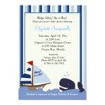 Ahoy Mate Blue Stripe Whale Baby Shower 5x7 13 Cm X 18 Cm Invitation Card