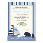 Ahoy Mate Blue Stripe Whale Baby Shower 5x7 Custom Announcement