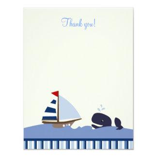 Ahoy Mate Blue Whale 4x5 Flat Thank you note 11 Cm X 14 Cm Invitation Card