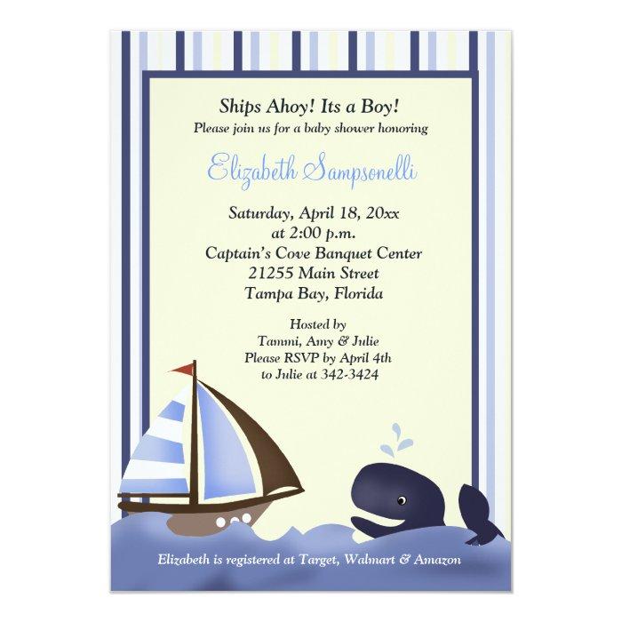 Ahoy Mate Blue Whale Baby Shower 5x7 13 Cm X 18 Cm Invitation Card