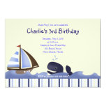 Ahoy Mate Blue Whale Birthday 5x7 Nautical Personalised Announcement