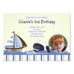Ahoy Mate Blue Whale Birthday 5x7 Photo Custom Announcement