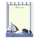 Ahoy Mate Blue Whale Flat Thank you card Personalized Announcement