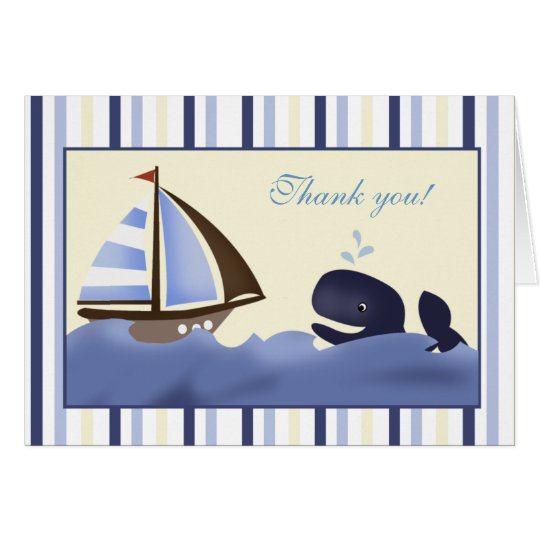 Ahoy Mate Blue Whale Folded Thank you note Card