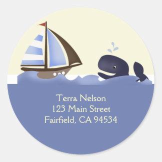 Ahoy Mate Blue Whale Return Address Stickers