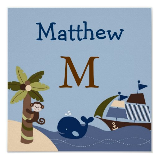 Ahoy Mate Nautical Nursery Wall Art Name Print