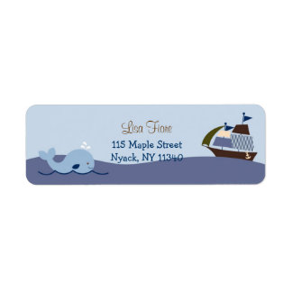 Ahoy Mate Nautical Whale Sailboat Address Labels