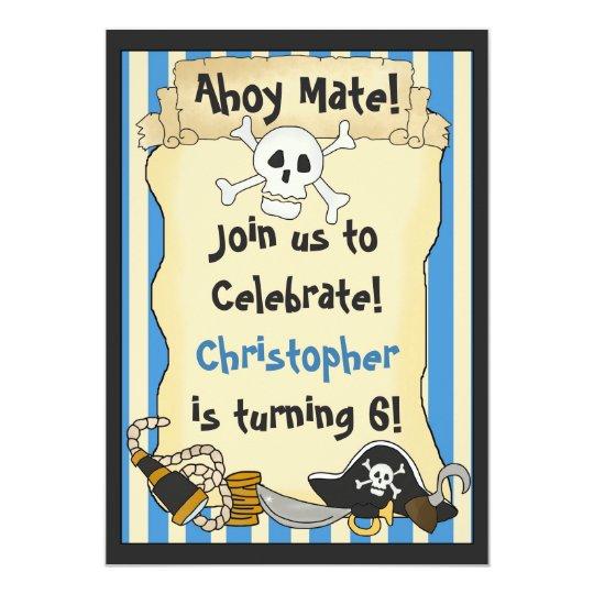 Ahoy Mate! Pirate Birthday Invitation for Boys