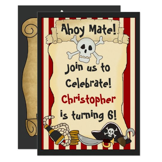 Ahoy Mate! Pirate Boys Birthday Party Invitation
