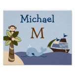 Ahoy Mate Whale Nursery Wall Art Name Print