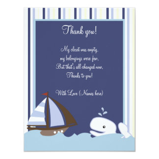 """Ahoy Mate White Whale 4x5 Flat Thank you note 4.25"""" X 5.5"""" Invitation Card"""