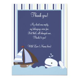 Ahoy Mate White Whale 4x5 Flat Thank you note 11 Cm X 14 Cm Invitation Card