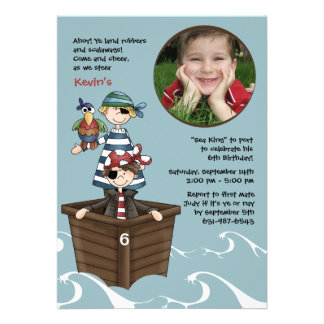 Ahoy Mates Photo Pirate Birthday Party Invitation