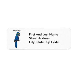 Ahoy Matey Blue Macaw Parrot Cartoon Return Address Label