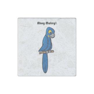 Ahoy Matey Blue Macaw Parrot Cartoon Stone Magnet